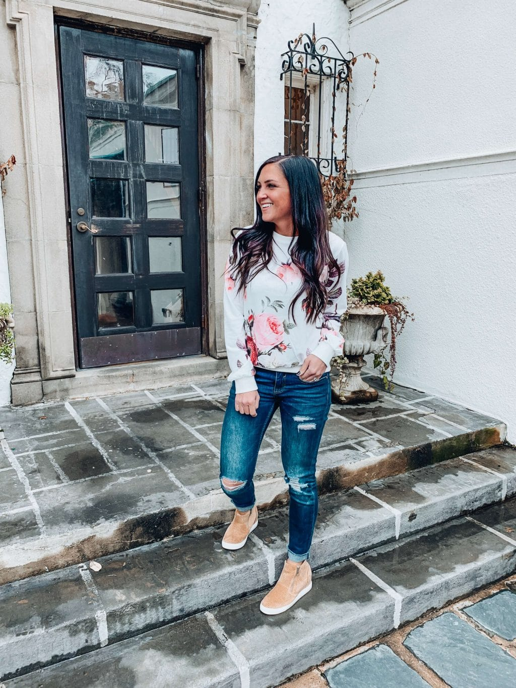 Floral Sweatshirt, Spring Style, Stilettos and Diapers, Molly Wey