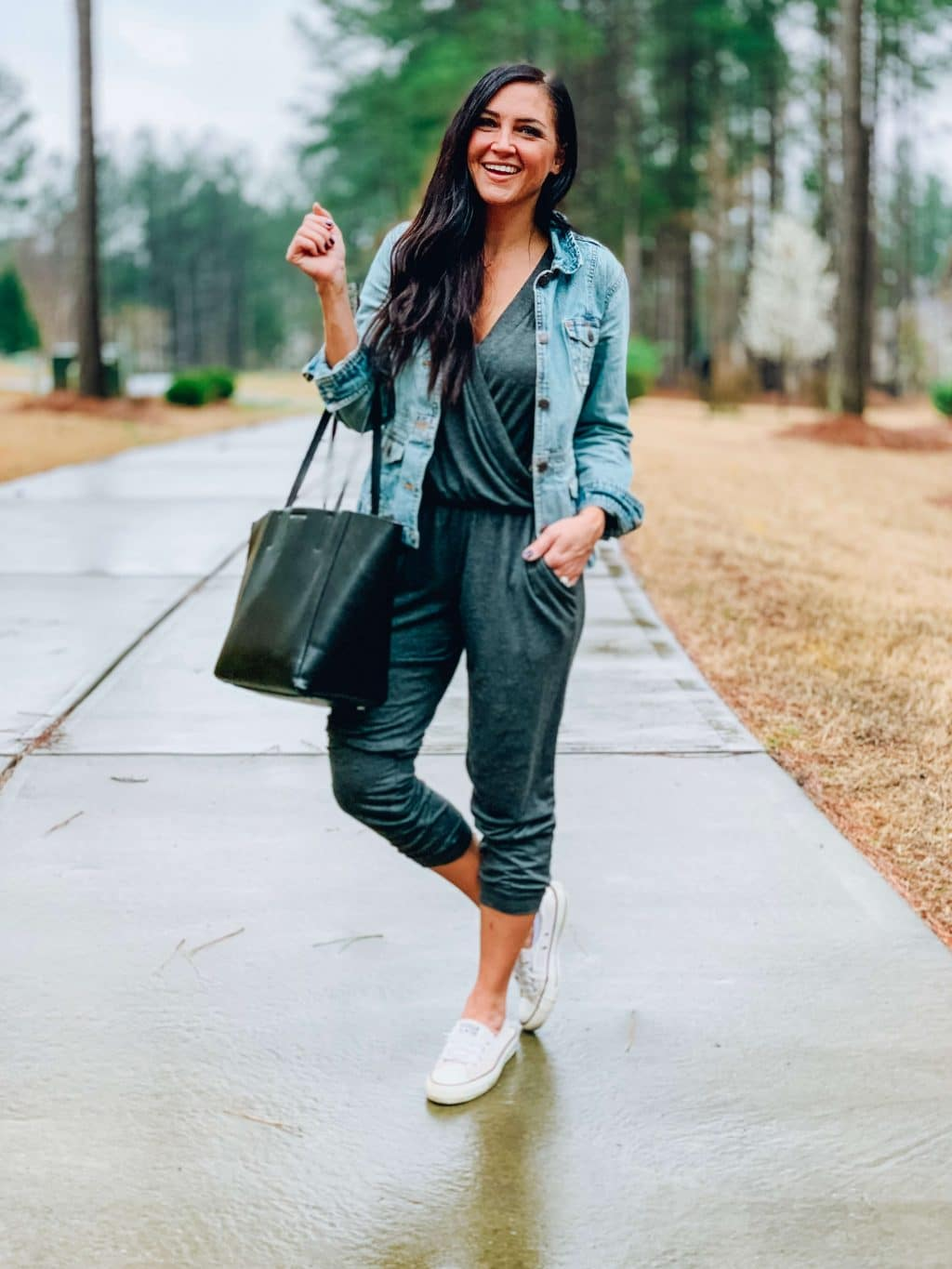 Kathlyn Peacock Boutique, Stilettos and Diapers, Grey Jumpsuit, Spring Style