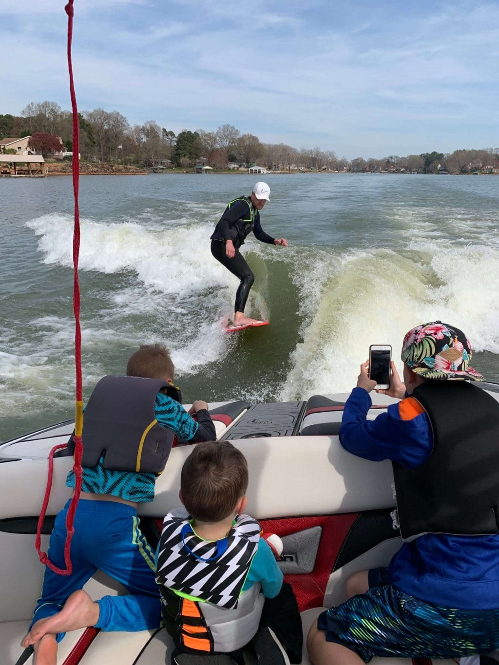 Wake Surfing, Boy Mom, Lake Norman, LKN, Stilettos and Diapers