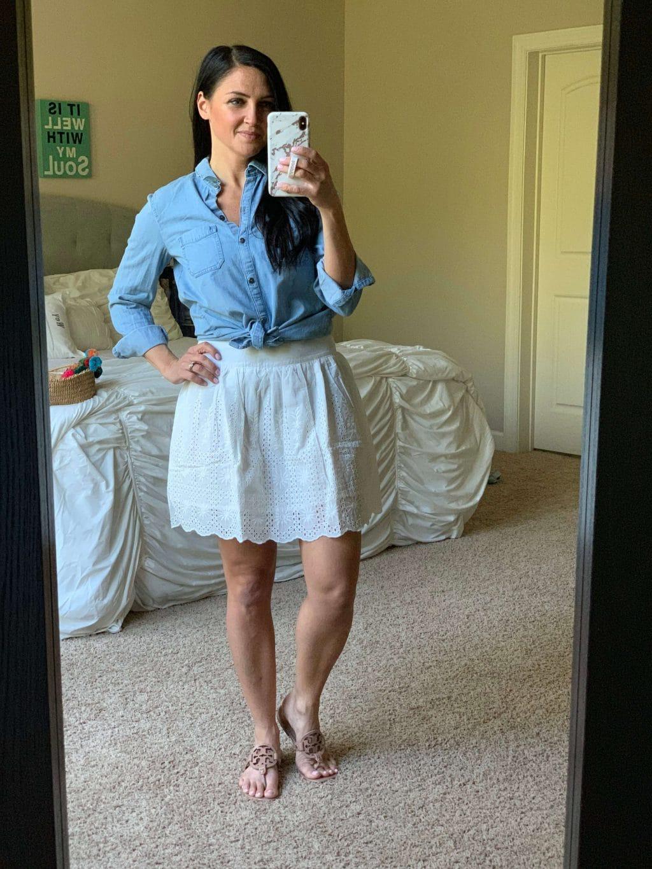 Amazon Haul, Stilettos and Diapers, Spring Style, White eyelet skirt, chambray shirt