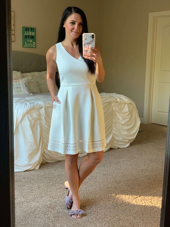 Amazon Haul, Stilettos and Diapers, Spring Style, White eyelet dress, Scuba dress