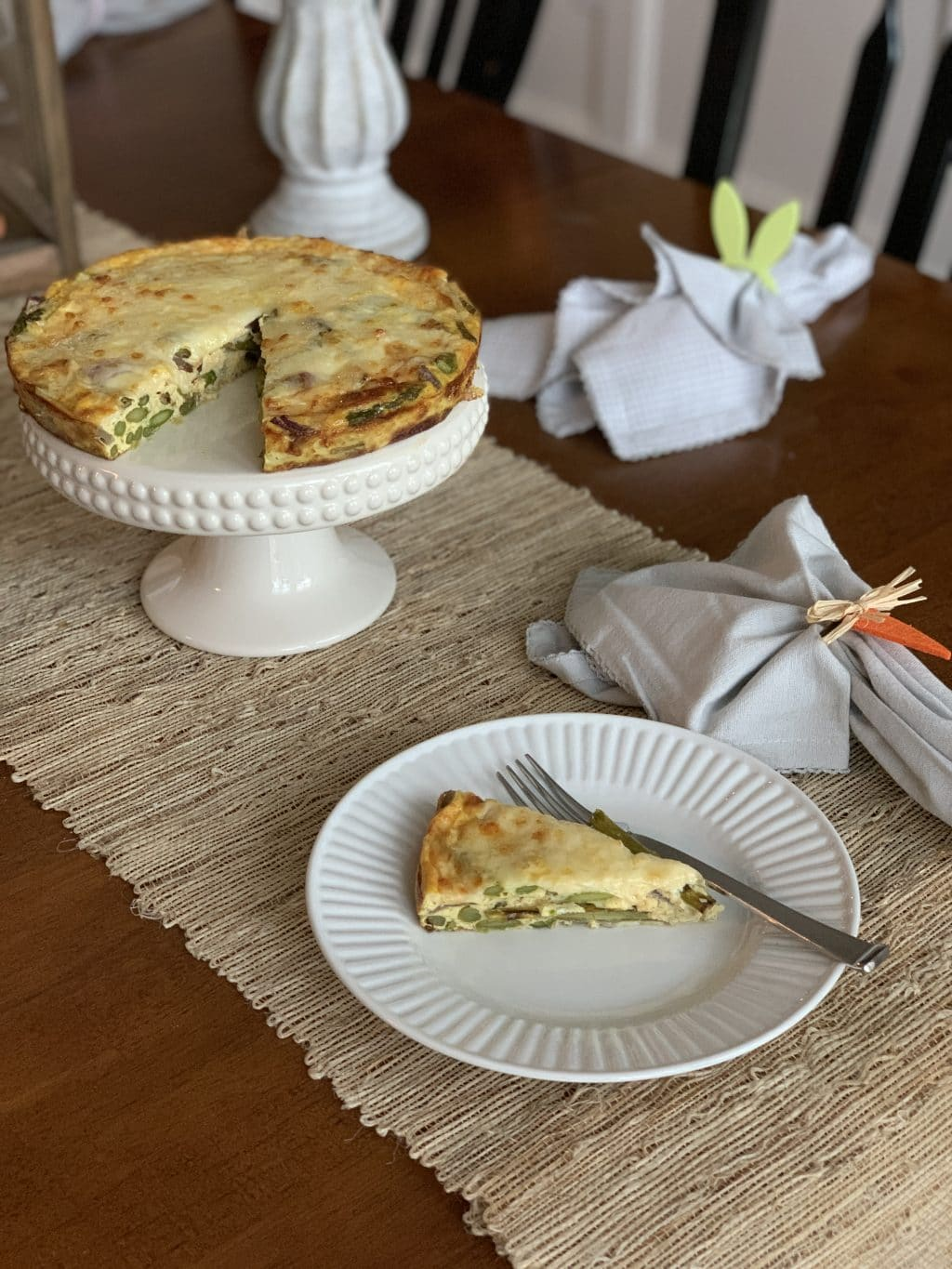 Crustless Asparagus Quiche, Easter Brunch, Stilettos and Diapers, Keto Breakfast