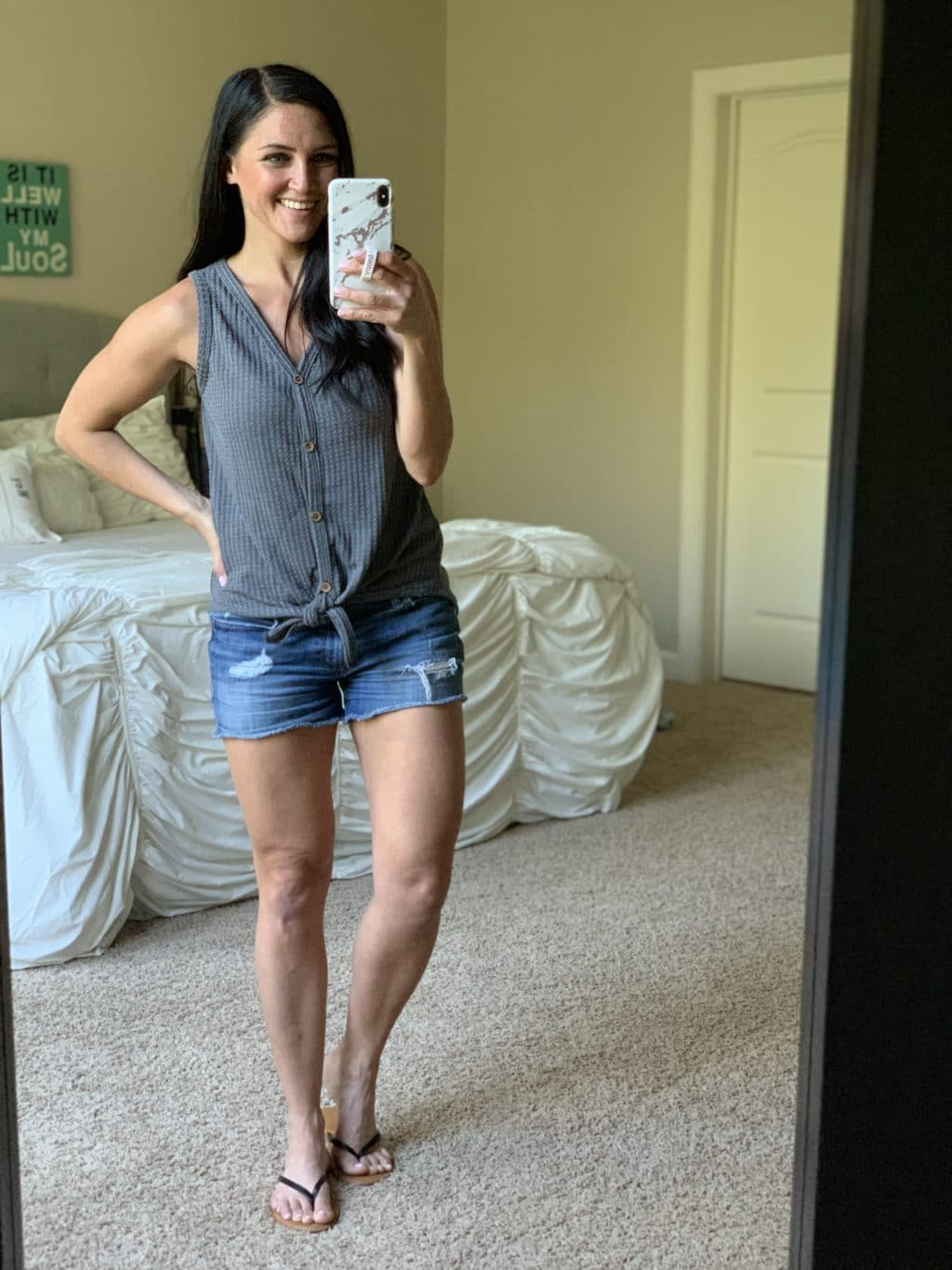 b481920fcfaea Amazon Haul, Stilettos and Diapers, Spring Style, Grey tie front tank, denim