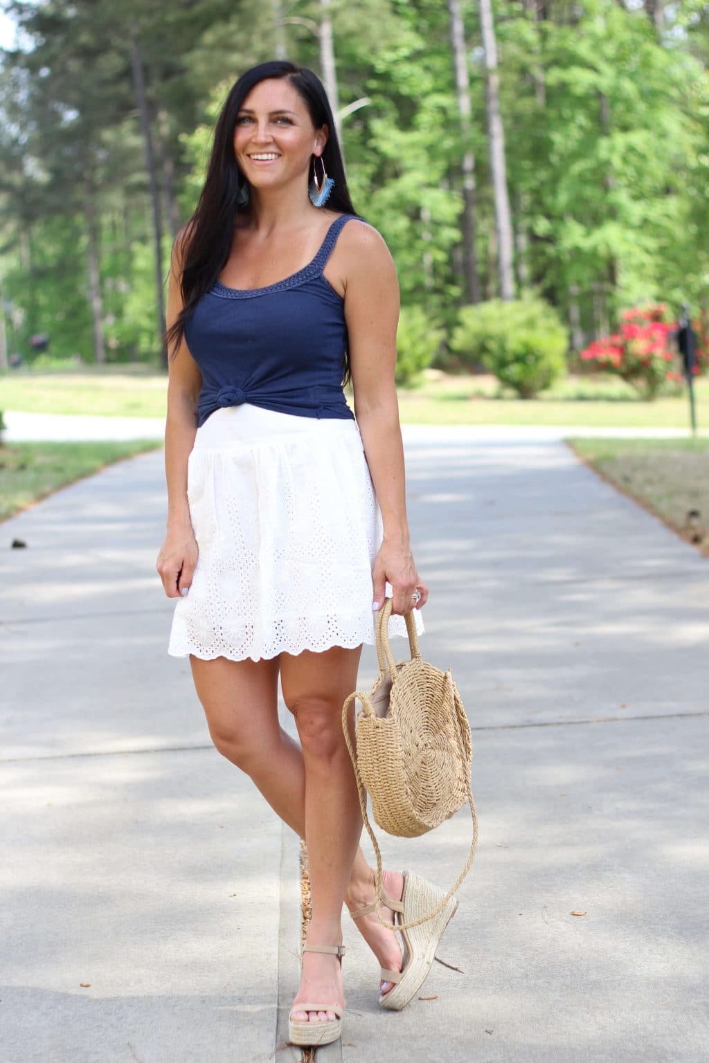 Memorial Day Style, White Eyelet skirt, Stilettos and Diapers