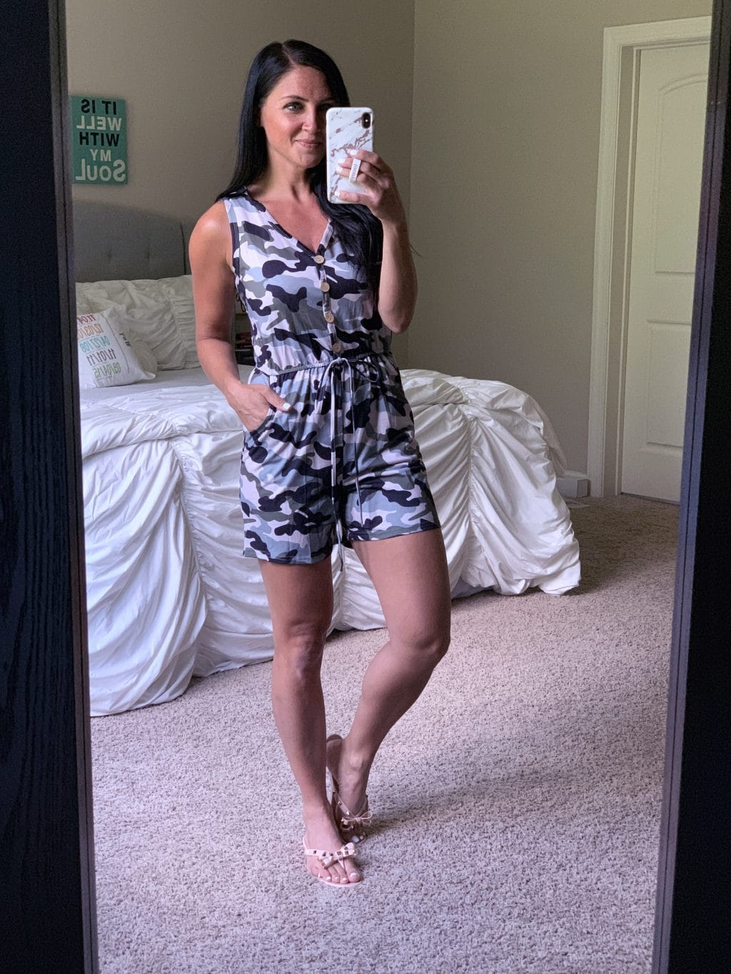Amazon Fashion Haul, Summer Style, Stilettos and Diapers, Molly Wey, Camo Romper