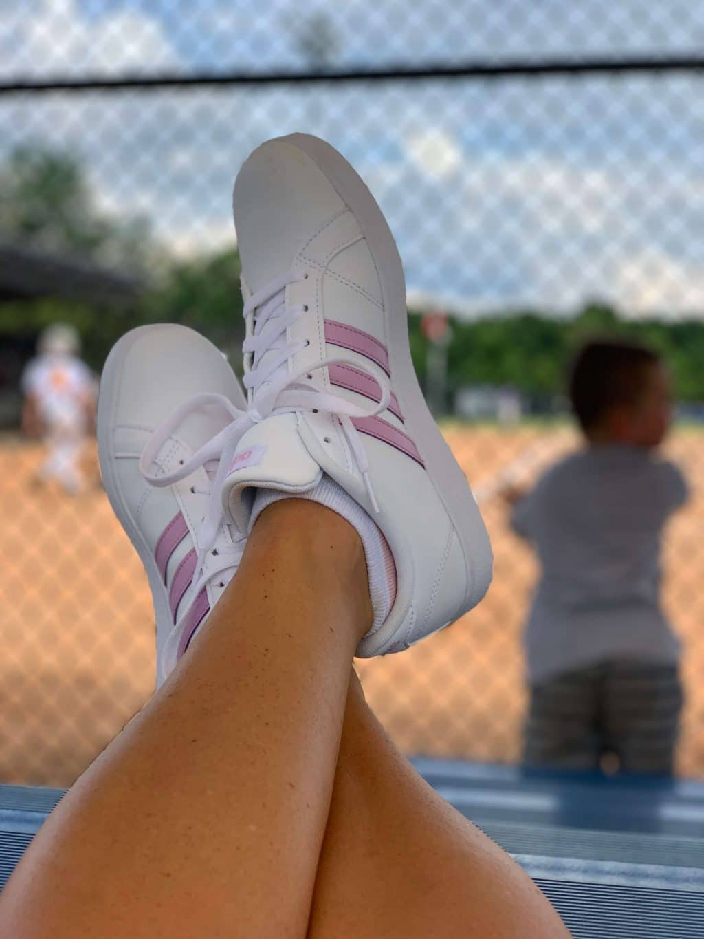 Baseball Mom, Stilettos and Diapers, Adidas stripe sneakers