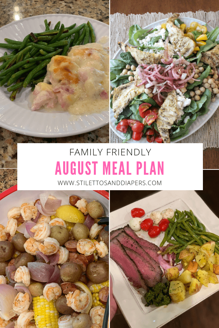 August Meal Plan, Stilettos and Diapers, Family friendly, easy meals