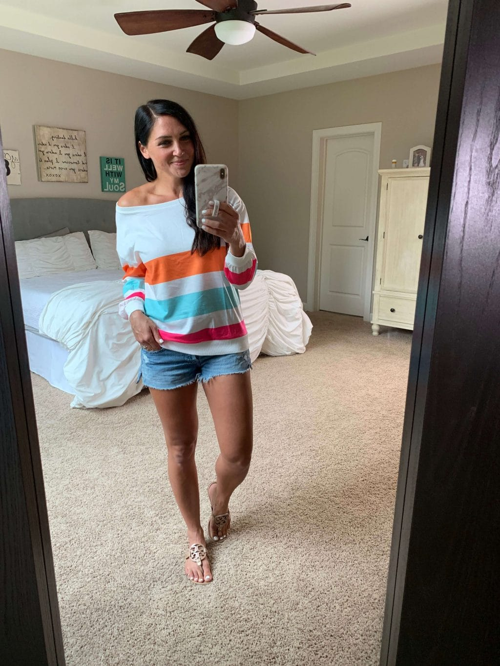 Amazon Fashion, Stilettos and Diapers, Molly Wey, stripe sweatshirt, casual style, fall transition style