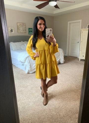Amazon Finds, Amazon Style, Stilettos and Diapers, Molly Wey, Mustard Yellow dress, Thanksgiving outfit