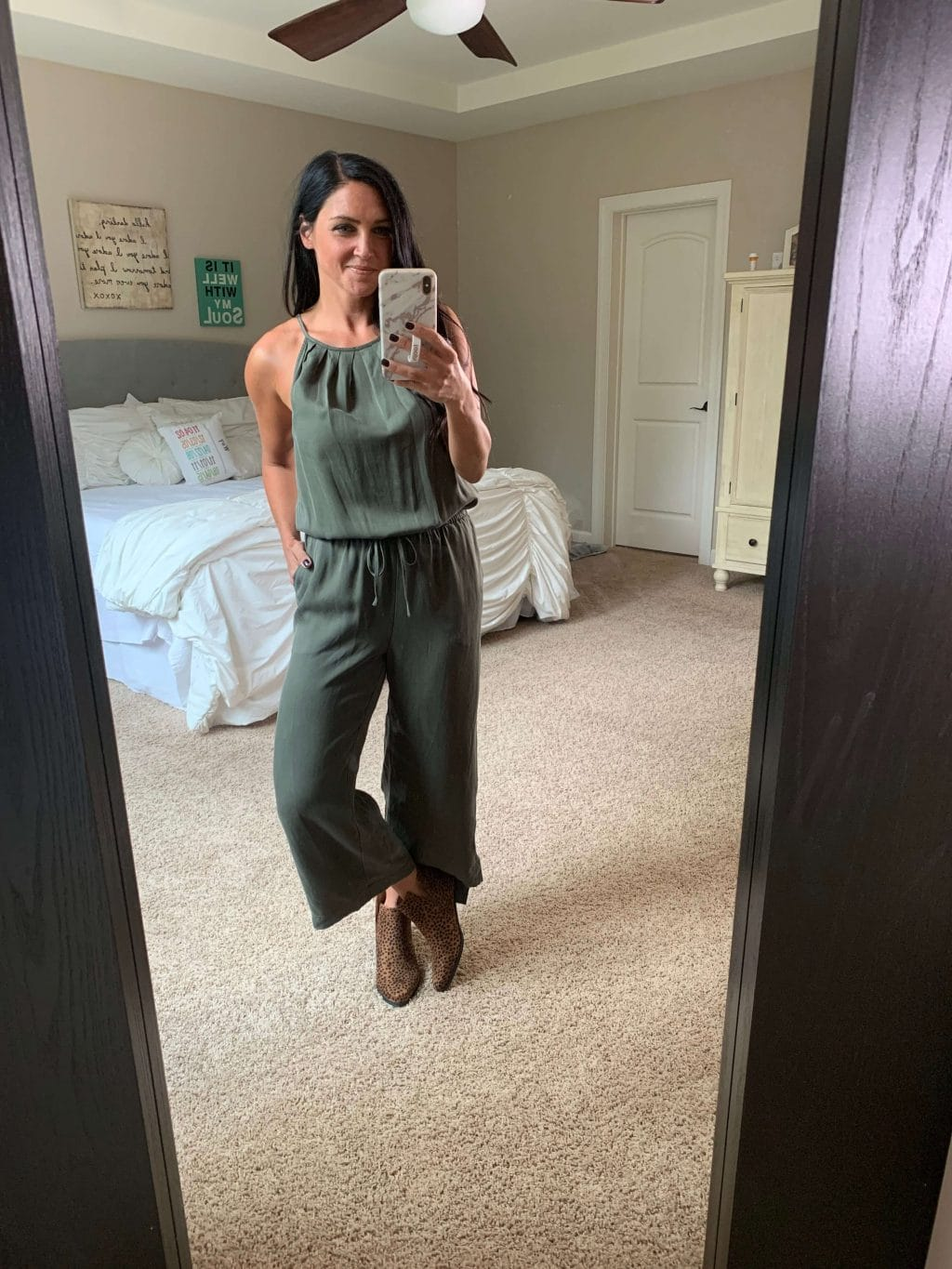 Amazon Finds, Amazon Style, Stilettos and Diapers, Molly Wey, Army Green Jumpsuit, Fall Jumpsuit