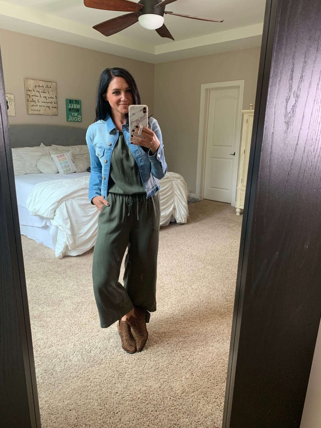 Denim Jacket, Amazon Finds, Amazon Style, Stilettos and Diapers, Molly Wey, Army Green Jumpsuit, Fall Jumpsuit