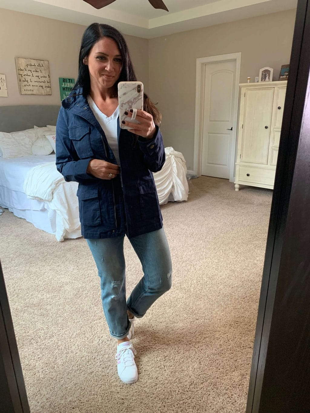 Amazon Finds, Amazon Style, Stilettos and Diapers, Molly Wey, navy jacket, fall jacket