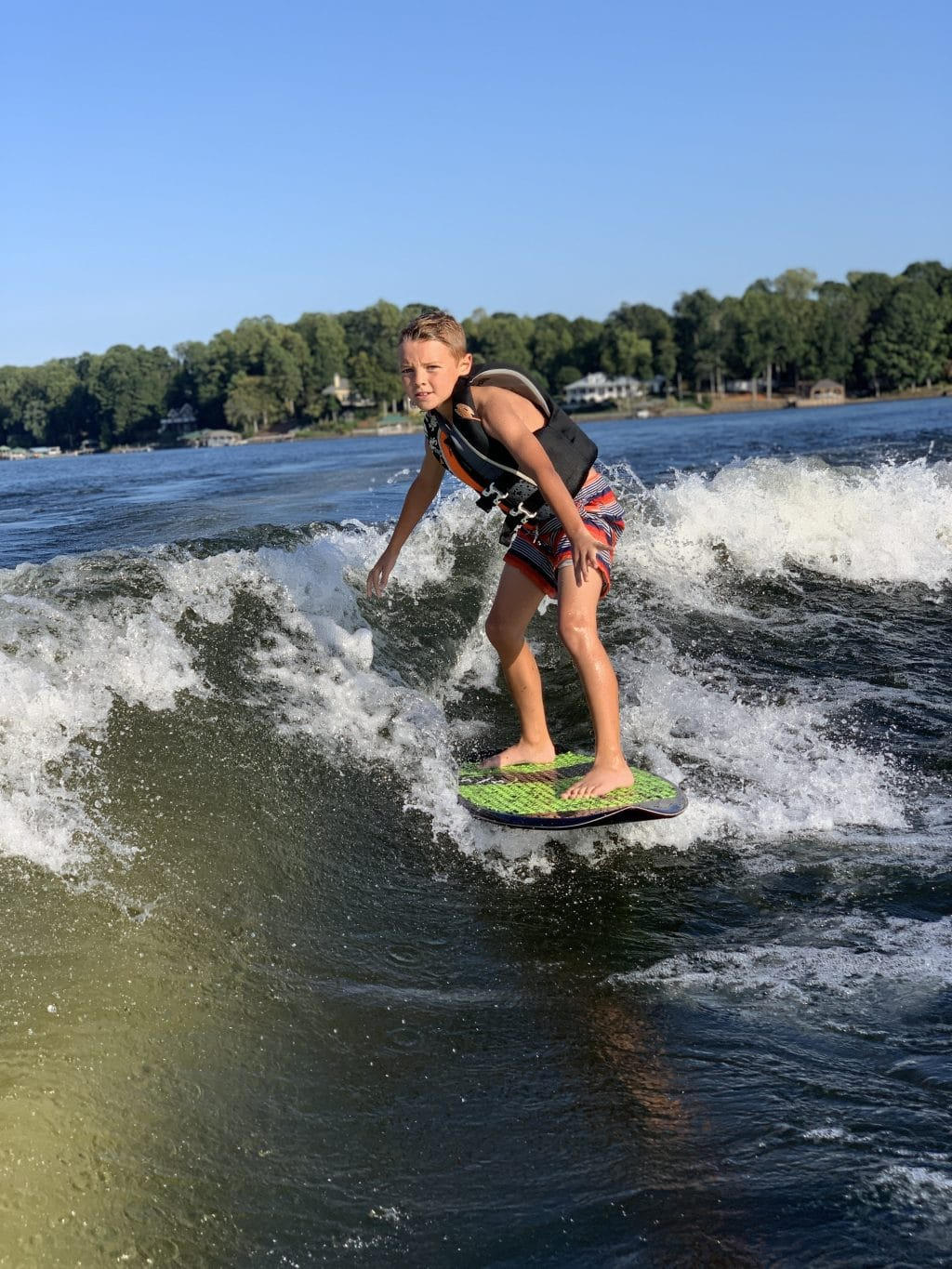 Surf Lake Norman, Stilettos and Diapers, Wake Surfing kids,