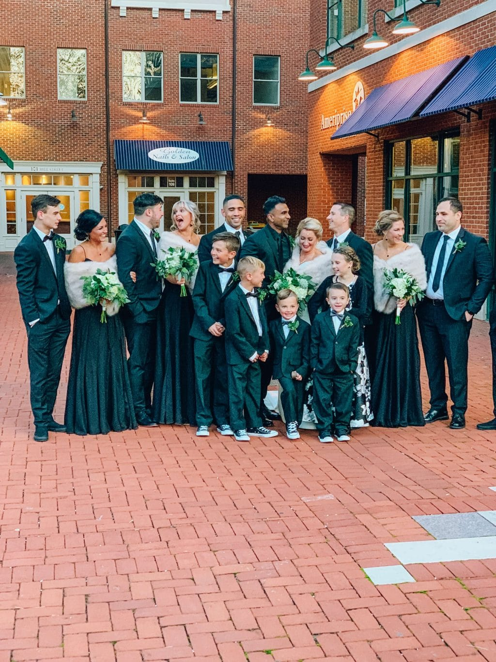 Ohio winter wedding, fur shawls, black Kleinfeld bridal party dresses, Gahanna,