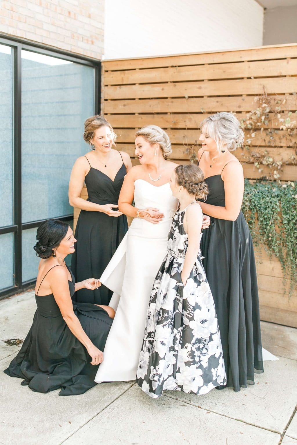 Stilettos and Diapers, Molly Wey, Ohio winter wedding, Black bridesmaid dresses, Kleinfeld bridal party