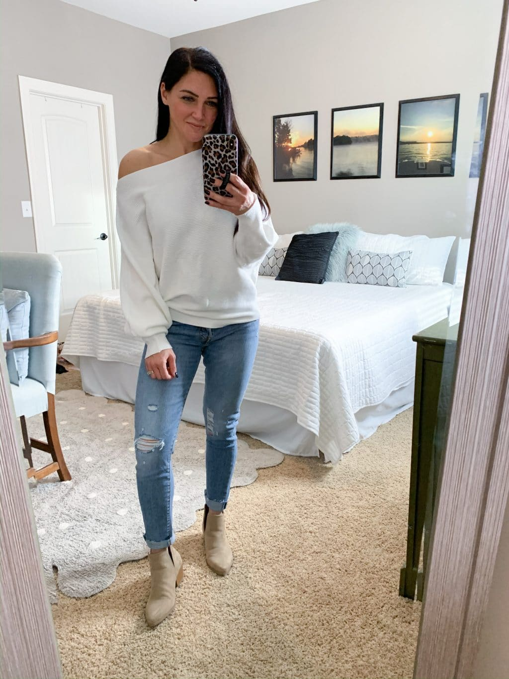 Casual style, Off the shoulder waffle knit top, tan booties, Stilettos and Diapers, Molly Wey