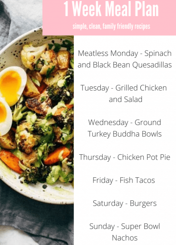 Weekly Family Meal Plan via Stilettos and Diapers