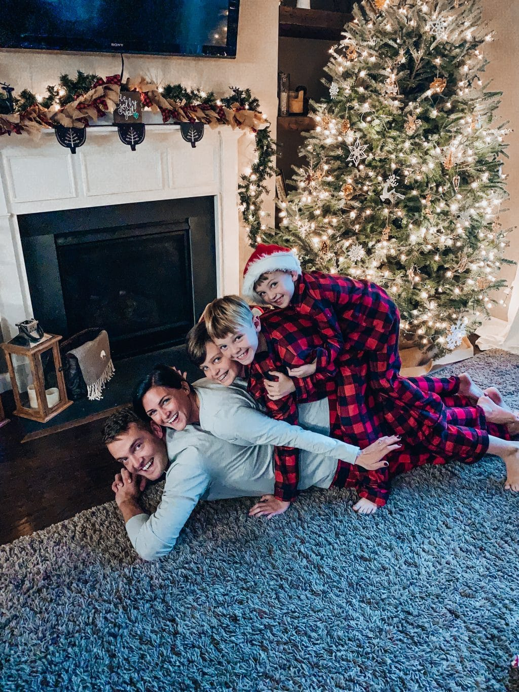 Family Christmas Morning Picture, Stilettos and Diapers, Molly Wey, Buffalo plaid family pajamas