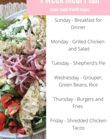Weekly Meal Plan, Sanity Savers and Random Musings
