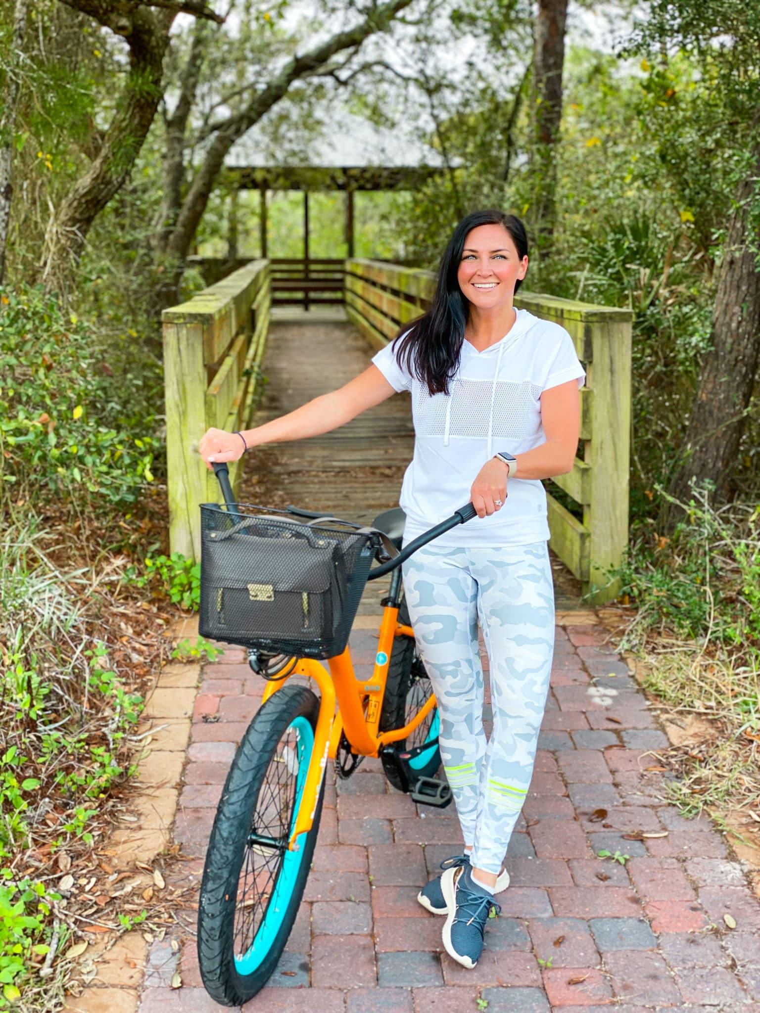 bike ride, fresh air, stilettos and diapers, blue mountain beach, fl, rent gear here