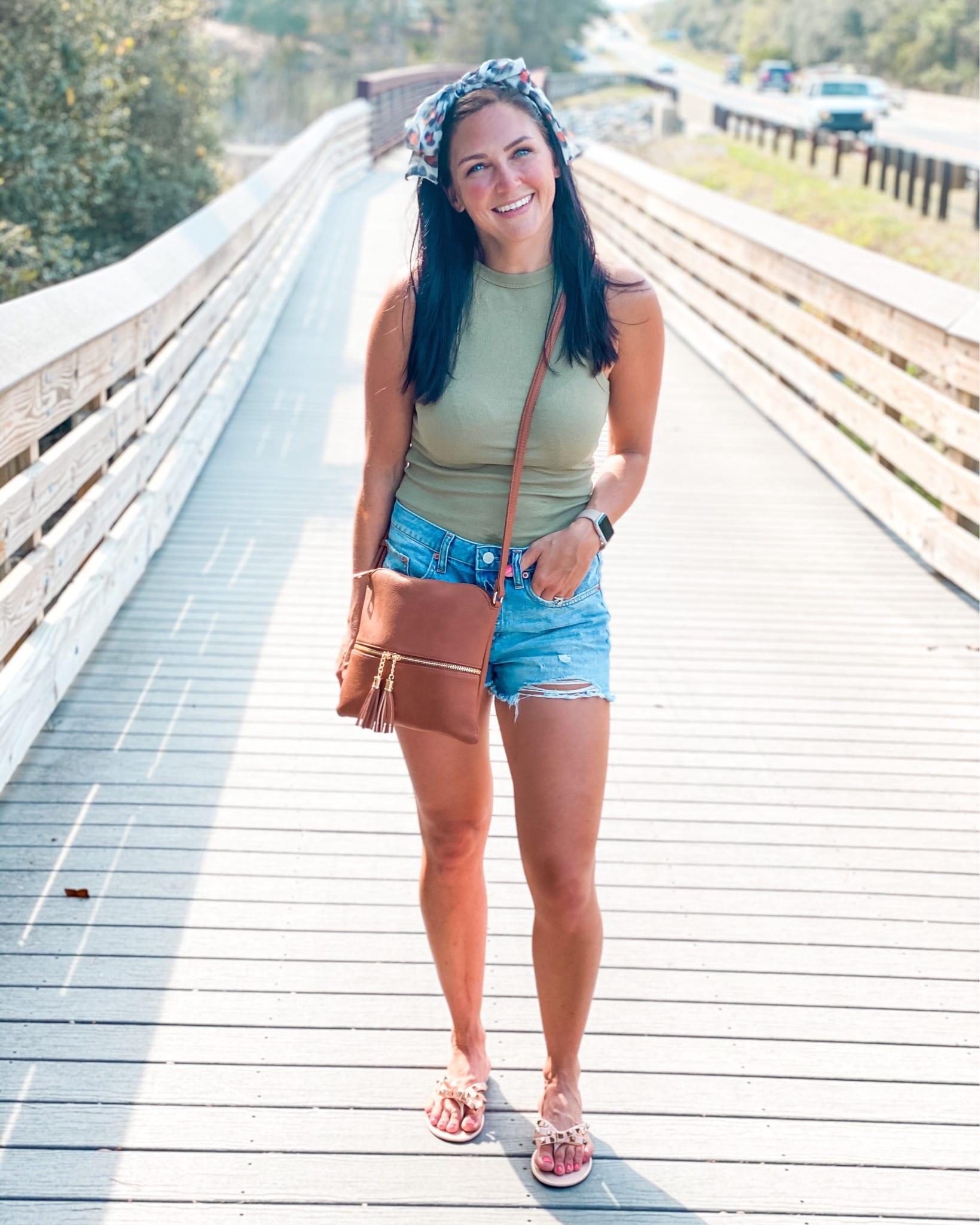Summer Style, Tank top, best denim shorts, best crossbody bag, stilettos and diapers