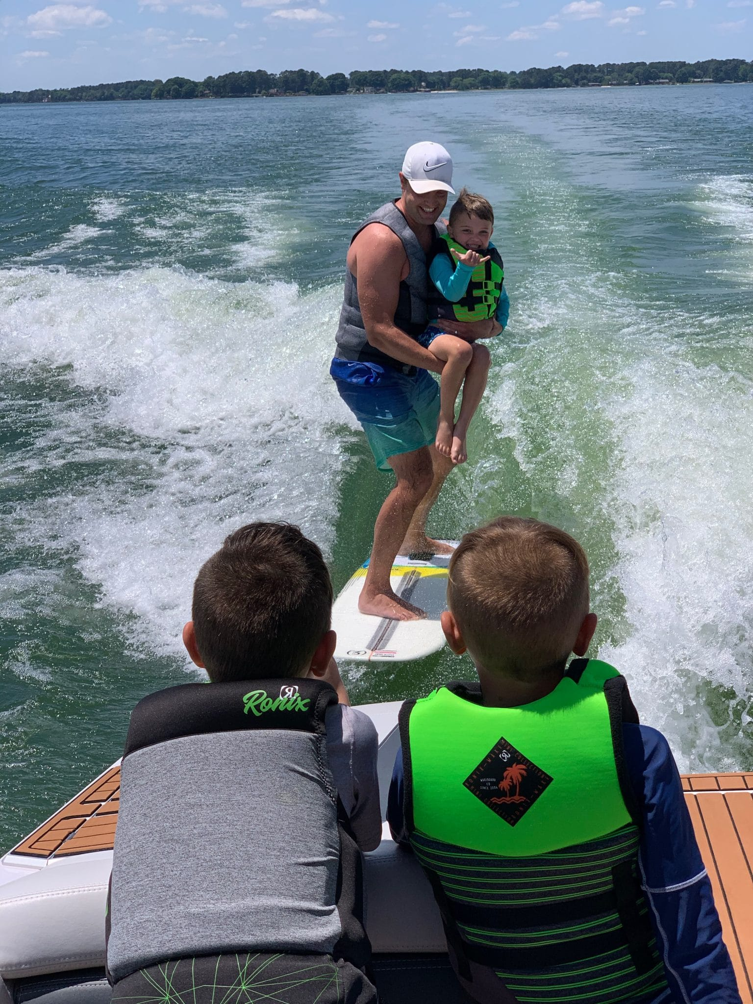 Lake Norman, Boy mom, Surfing Dad and son, Molly Wey