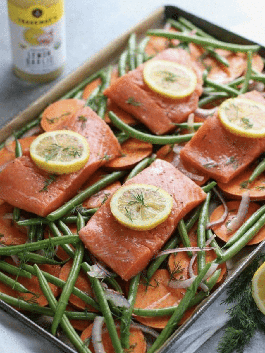 7 Easy Family Meals, Stilettos and Diapers, Sheetpan Salmon Bake