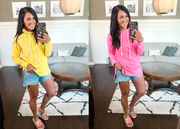 Bright Summer Basics, hooded sweatshirt, Stilettos and Diapers, Molly Wey