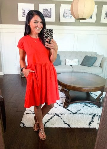 Red babydoll pocket tshirt dress, Bright Summer Basics, Stilettos and Diapers, Molly Wey