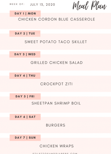 Weekly Meal Plan, Meal Plan Printable, Family Friendly Meal Plan, Stilettos and Diapers