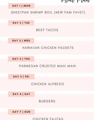 This Weeks Meal Plan