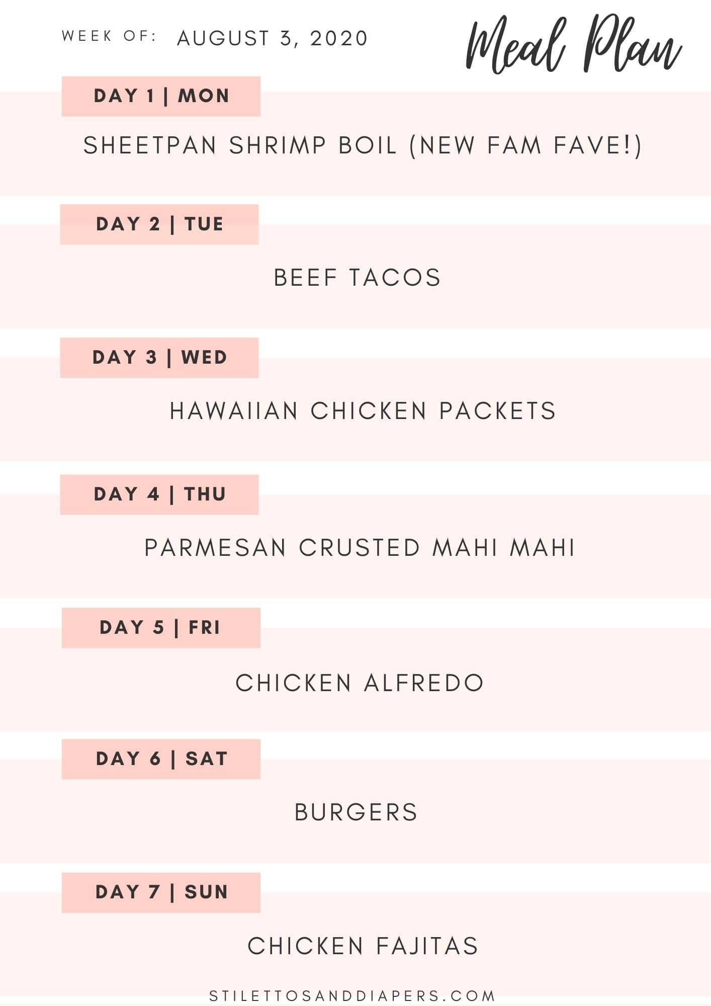 Weekly Meal Plan, Simple Family Dinner, Easy Dinner Ideas
