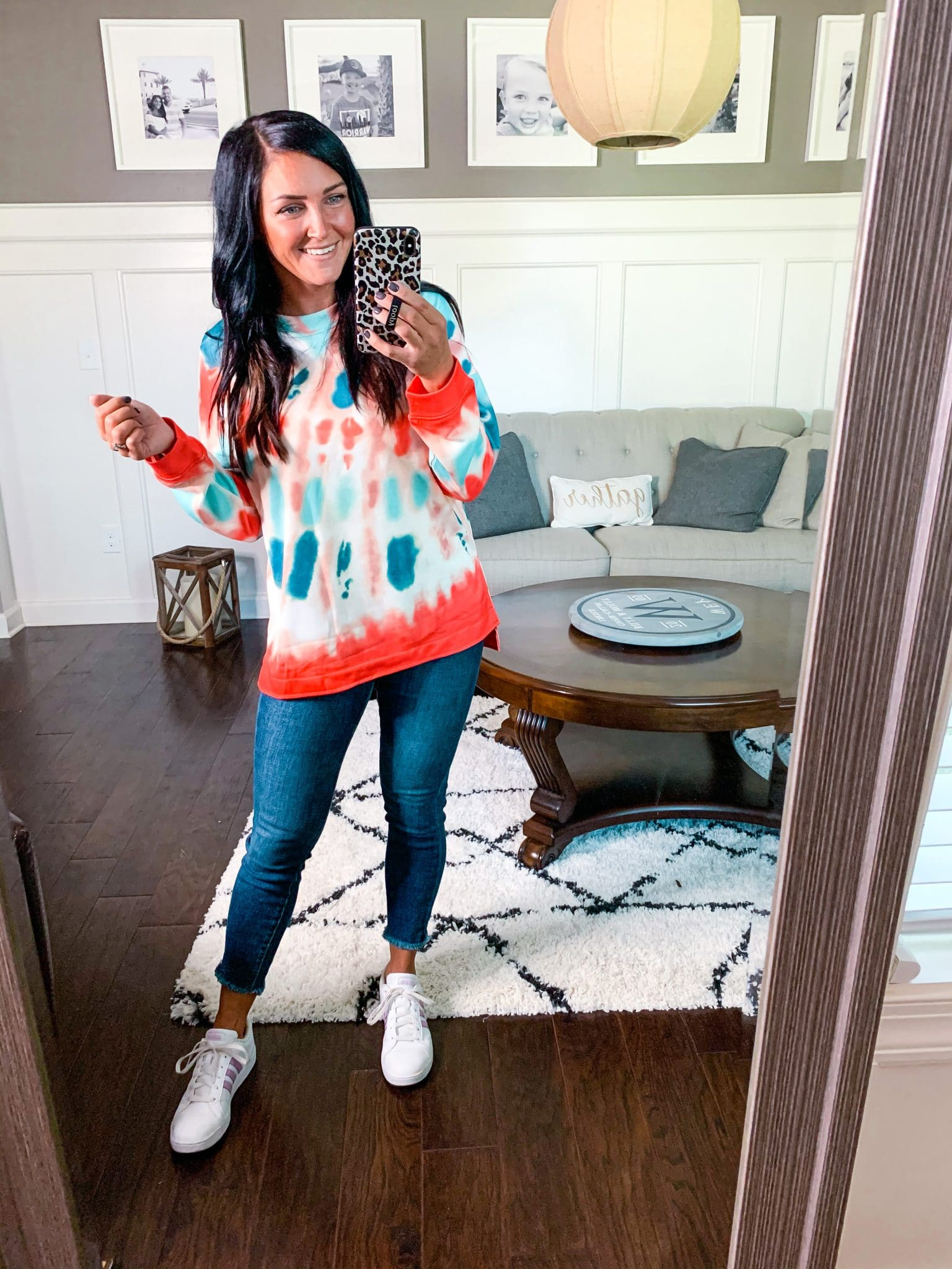 Summer to fall fashion, Amazon Finds, Stilettos and Diapers, Molly Wey, Tie Dye Sweatshirt