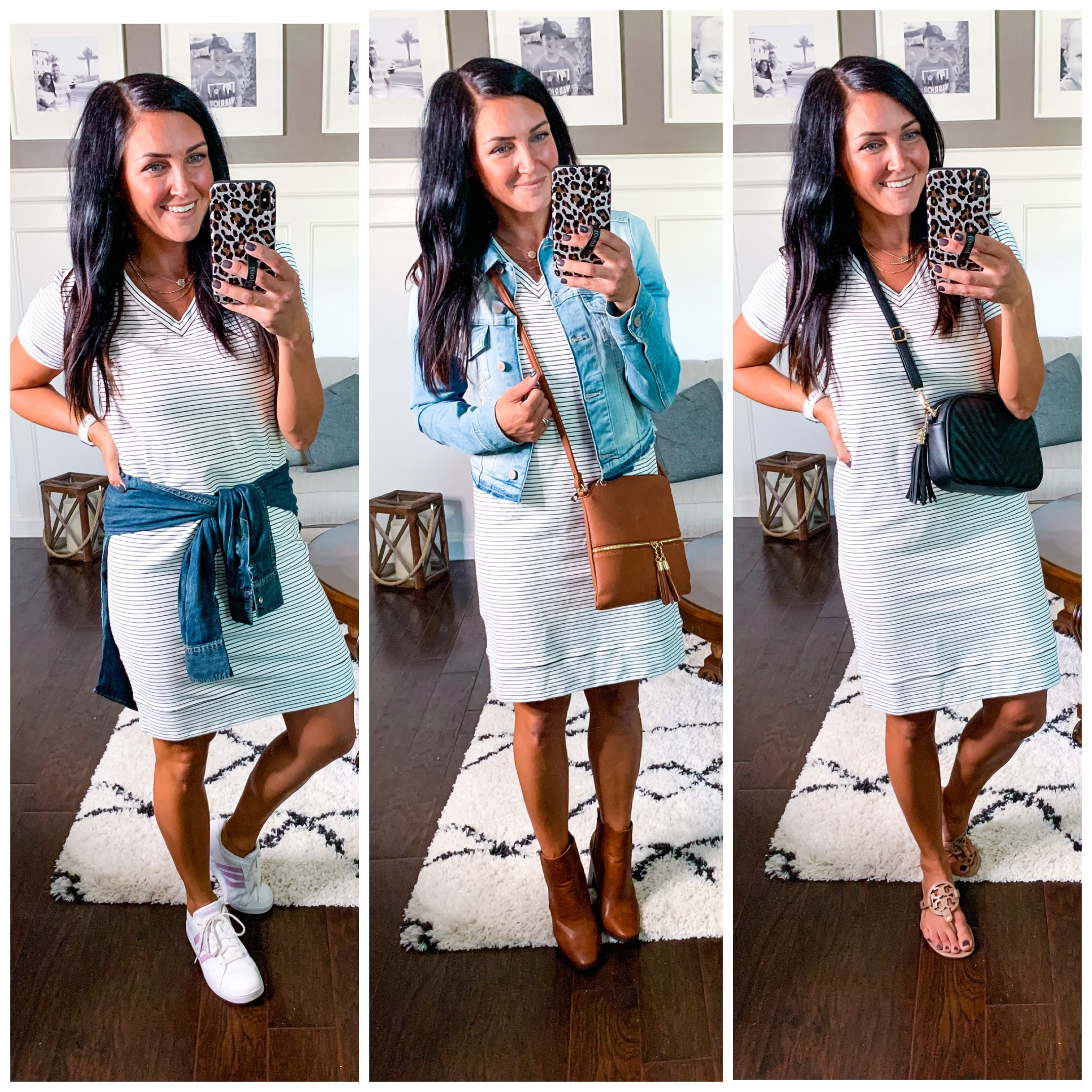 Striped Dress 3 ways, Summer to fall fashion, Amazon Finds, Stilettos and Diapers, Molly Wey