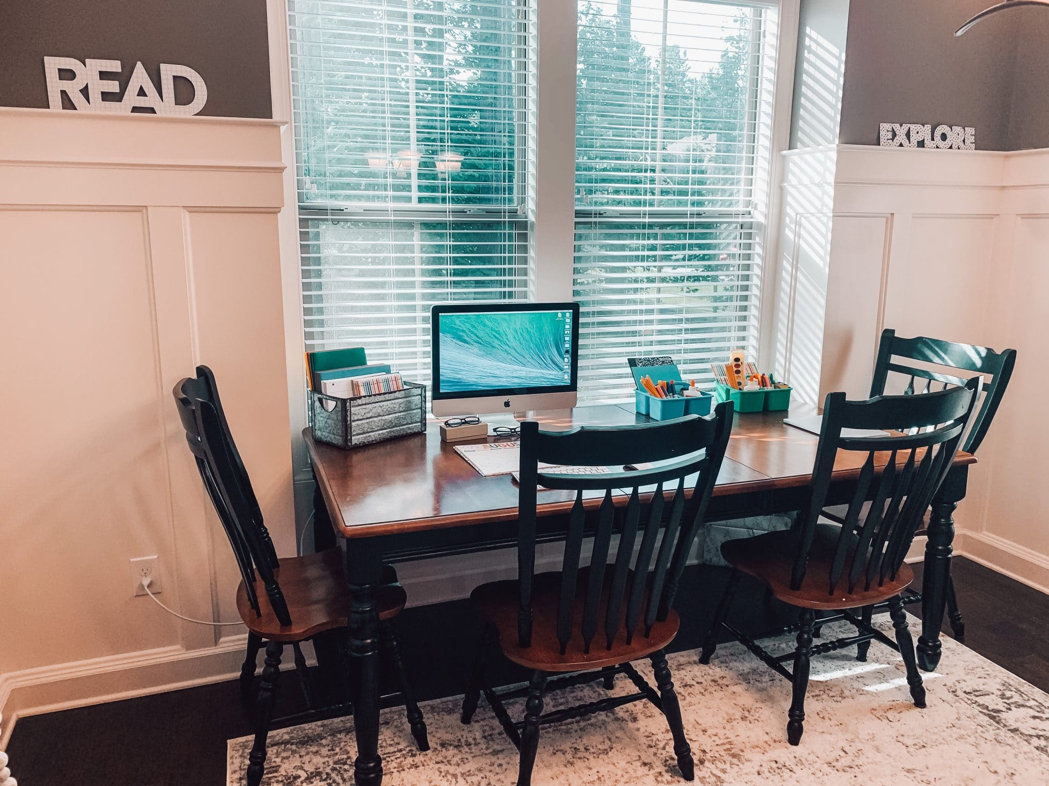 Virtual Home Classroom, Homeschool Room Ideas, Dining Room School, Stilettos and Diapers