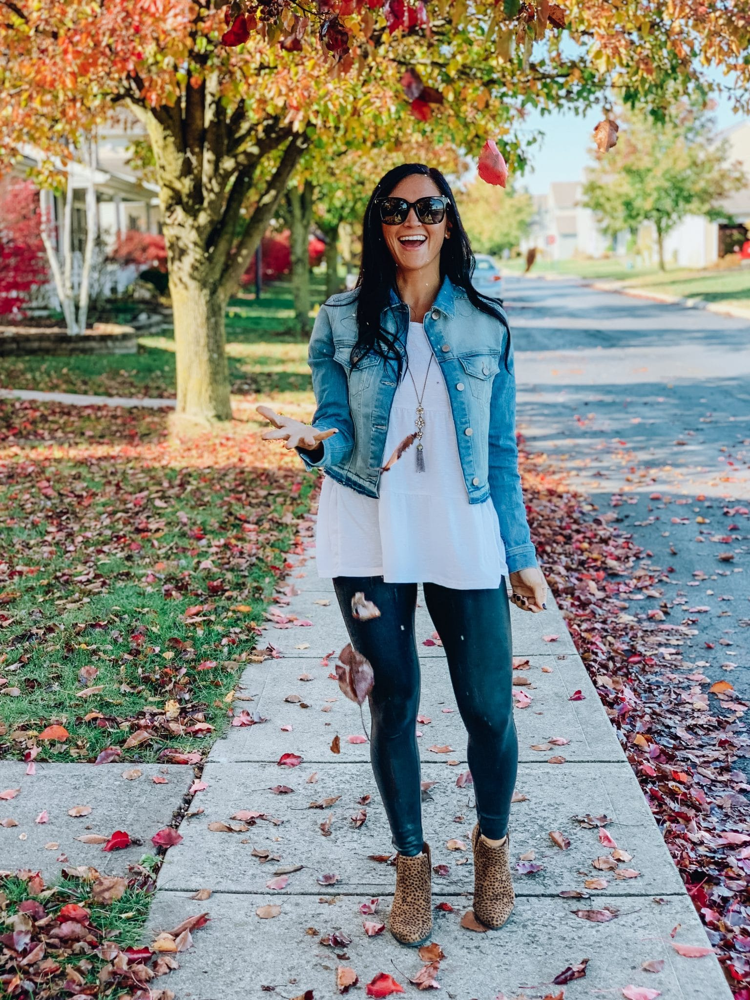 Denim Jacket, Leopard Booties, Fall Fashion Essentials, Stilettos and Diapers, Molly Wey