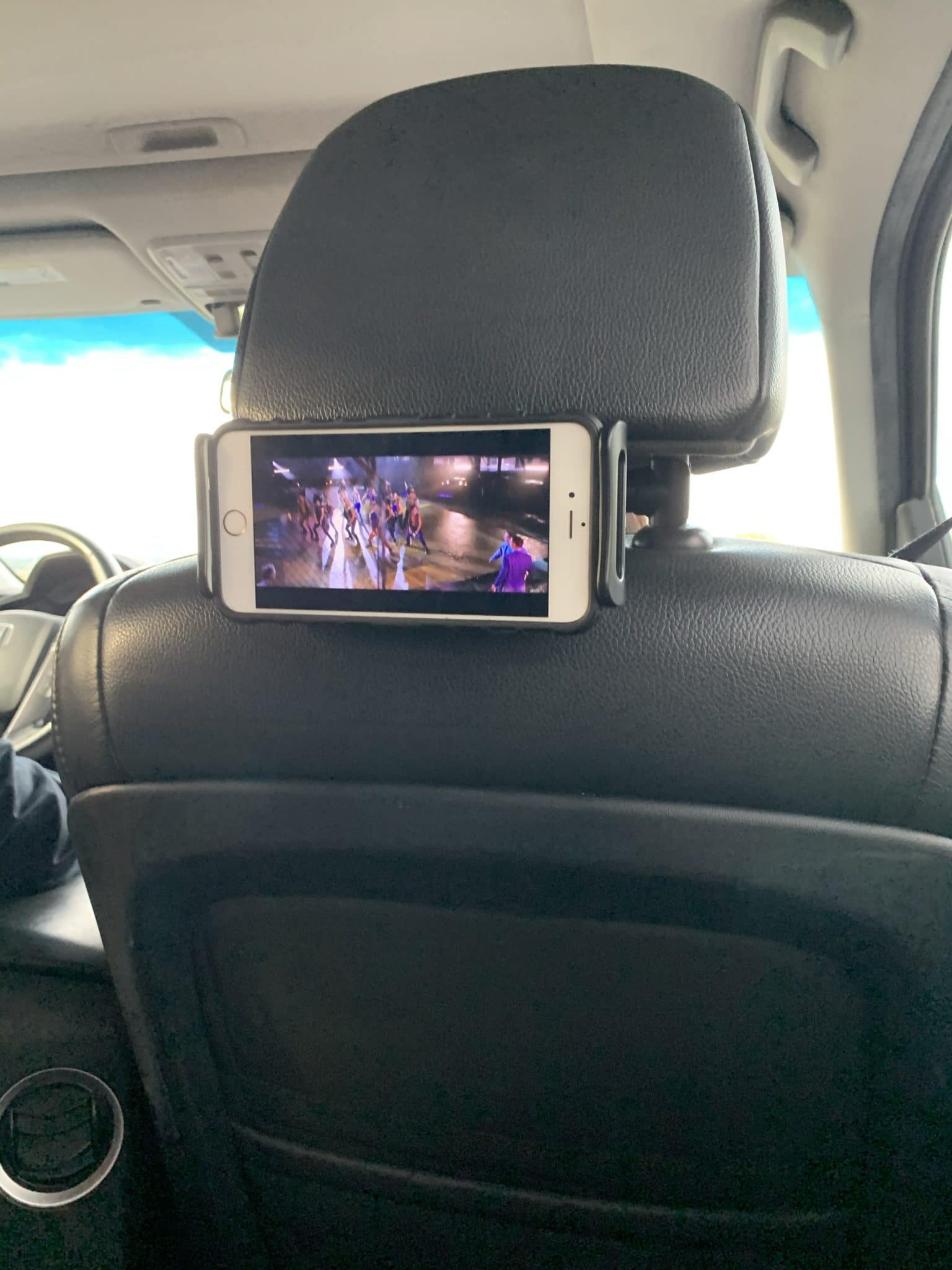 Car seat phone holder, seat back tablet holder, road trip tips for kids, Stilettos and Diapers
