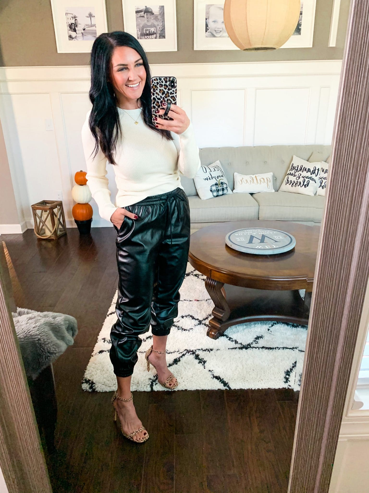 How to dress up Leather Joggers, Target Style, Stilettos and Diapers, Molly Wey