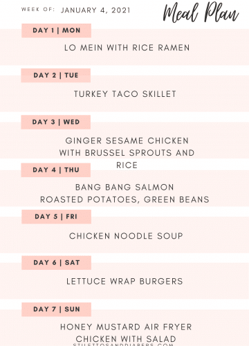 Healthy Weekly Meal Plan, stilettos and diapers