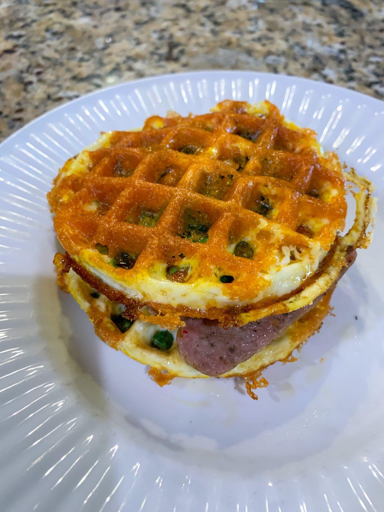 Chaffle sandwich, breakfast food, keto breakfasts, Stilettos and Diapers