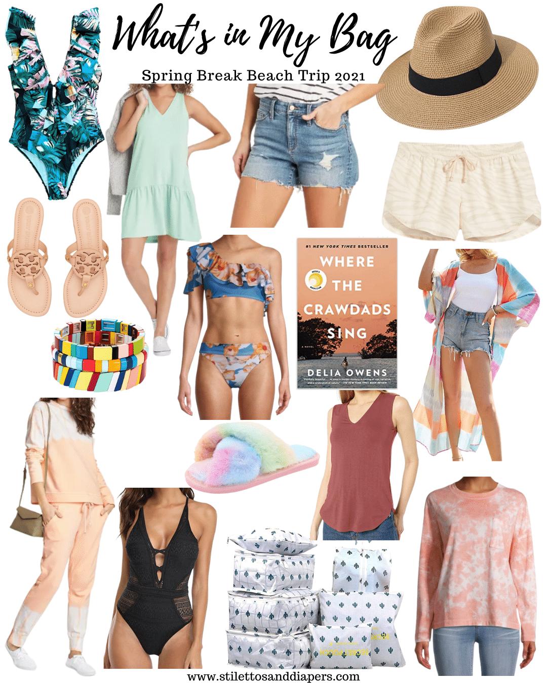 What's in my spring break bag, Spring Break beach trip essentials, Stilettos and Diapers