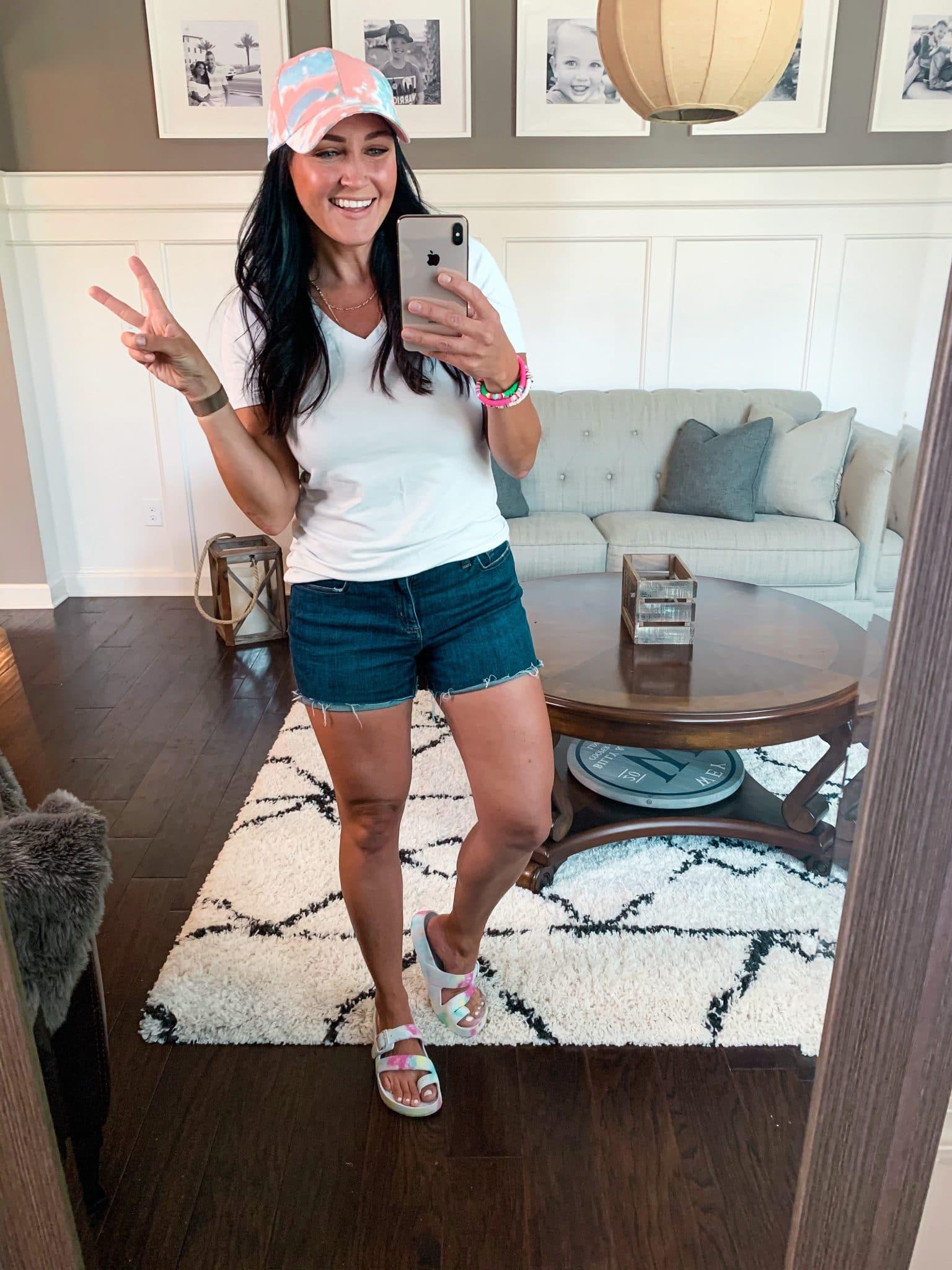 Tie Dye Ball cap, Denim shorts, Beach style, Amazon Fashion, Amazon Style, Stilettos and Diapers, Molly Wey