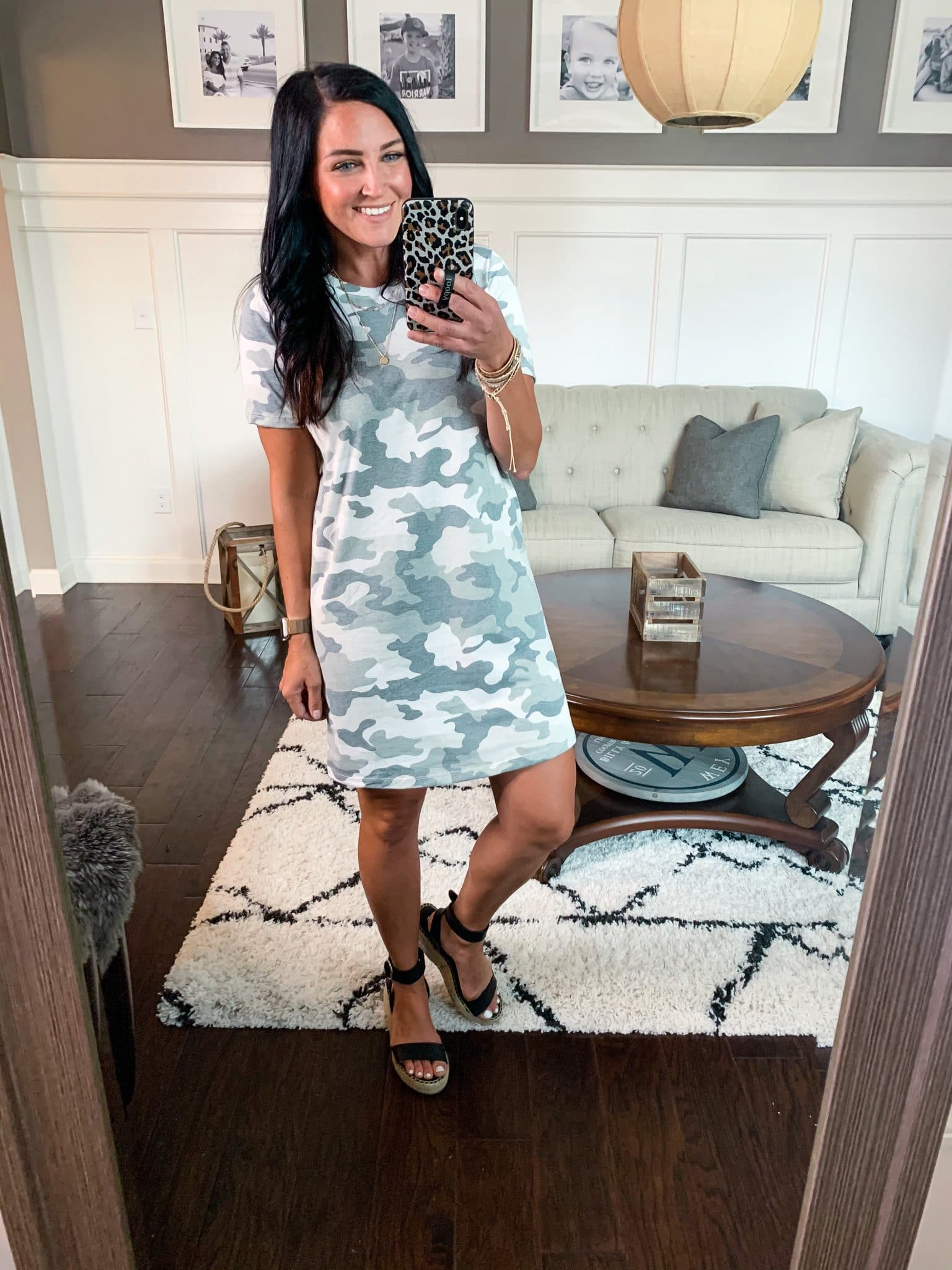 Camo T shirt dress, Amazon spring haul, Stilettos and Diapers, Molly Wey