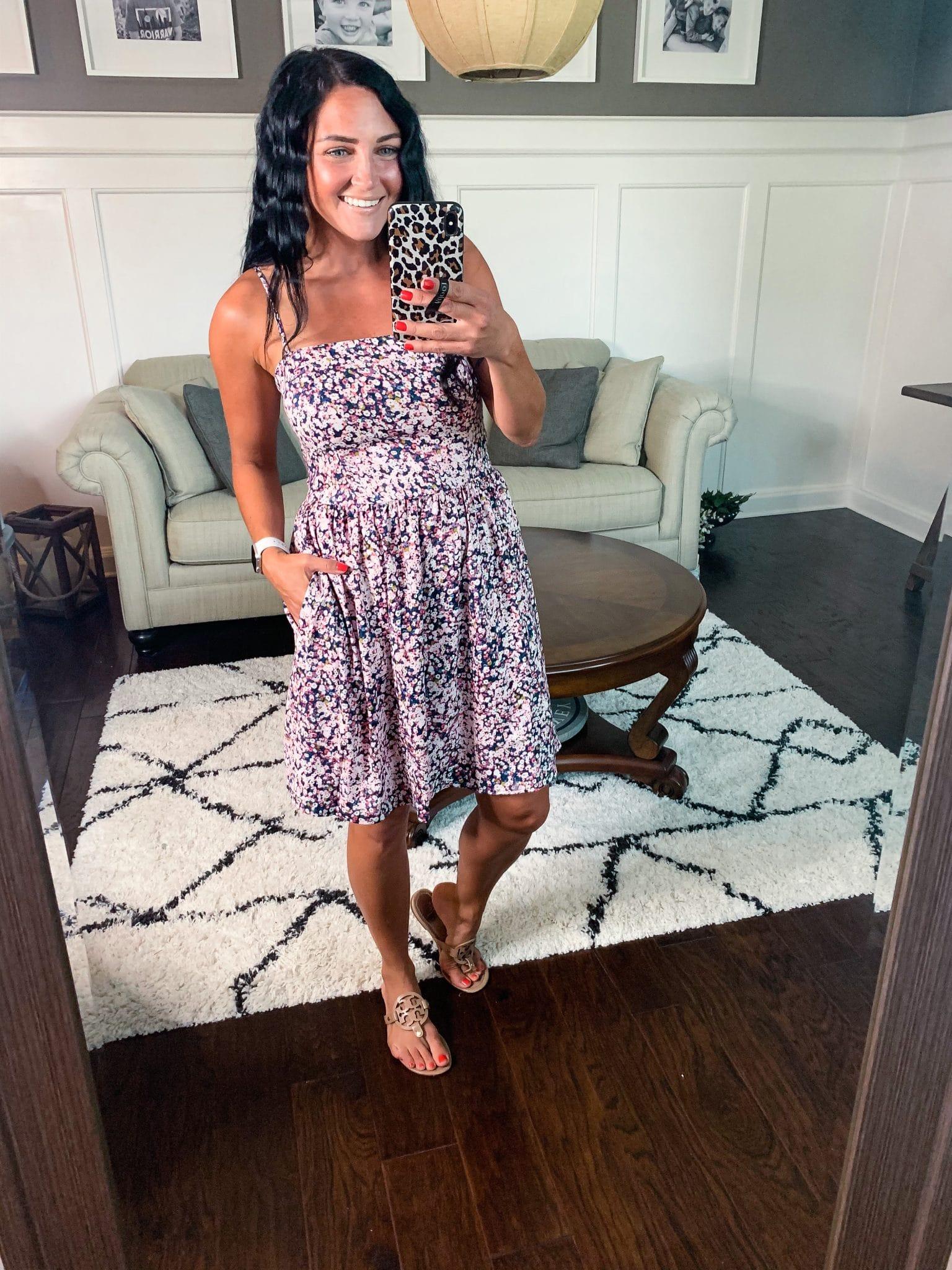 Summer spaghetti strap dress, Amazon Haul, Summer Style, Stilettos and Diapers, Molly Wey,