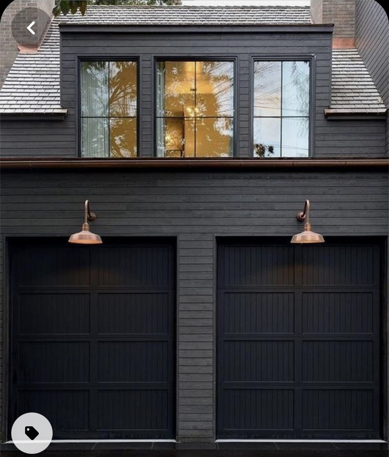 Black Garage doors, Home Decor, New construction, Dark house exterior, Stilettos and Diapers