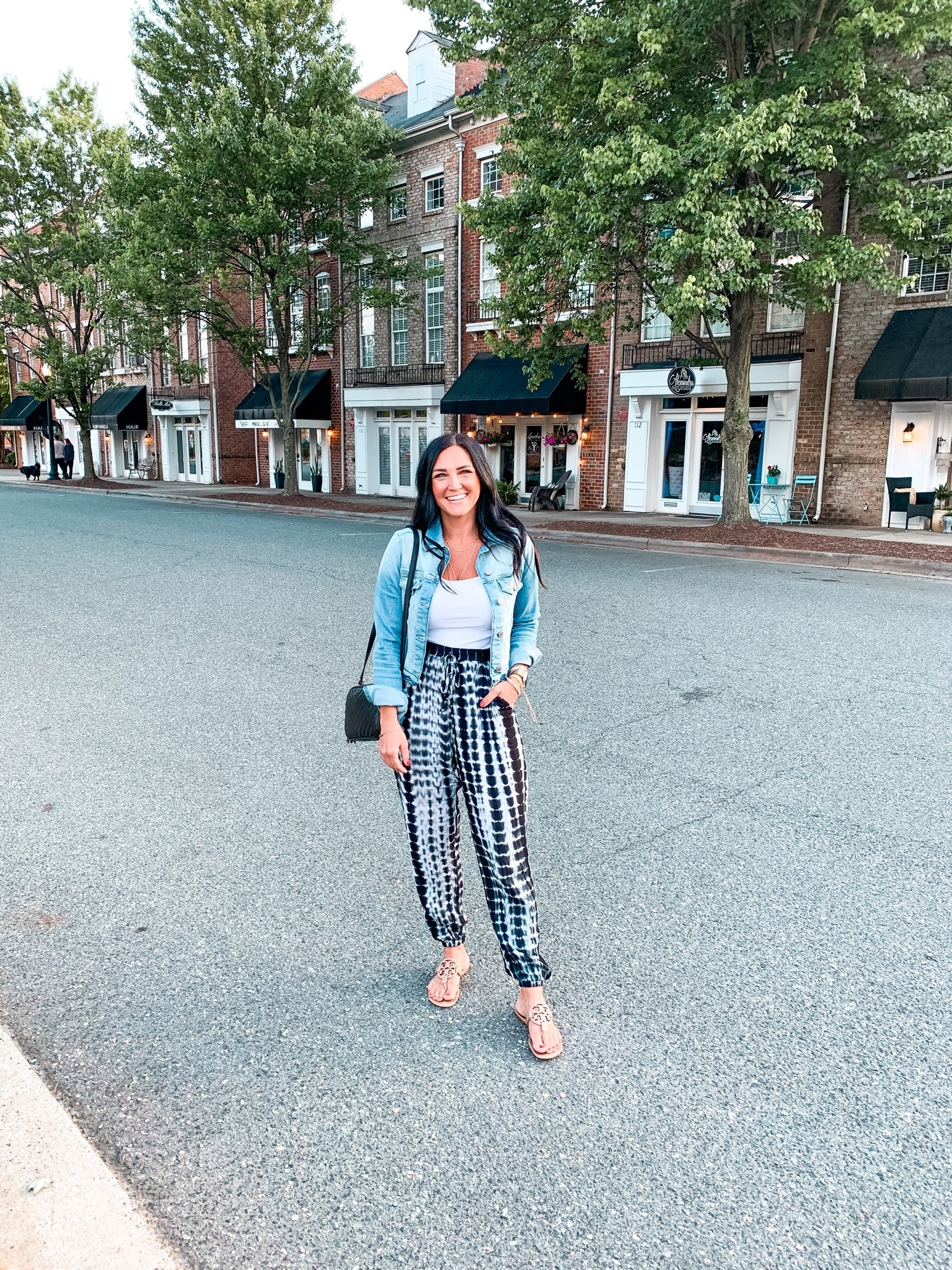 Casual Summer Date Night Outfit, Tie Dye Joggers, Denim Jacket, Molly Wey