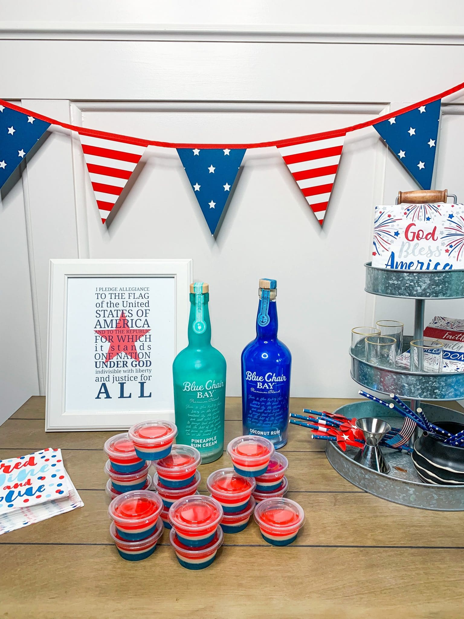 Jell-O Shots, July 4th Weekend, Patriotic Trifle, Olympic watching desserts, Stilettos and Diapers