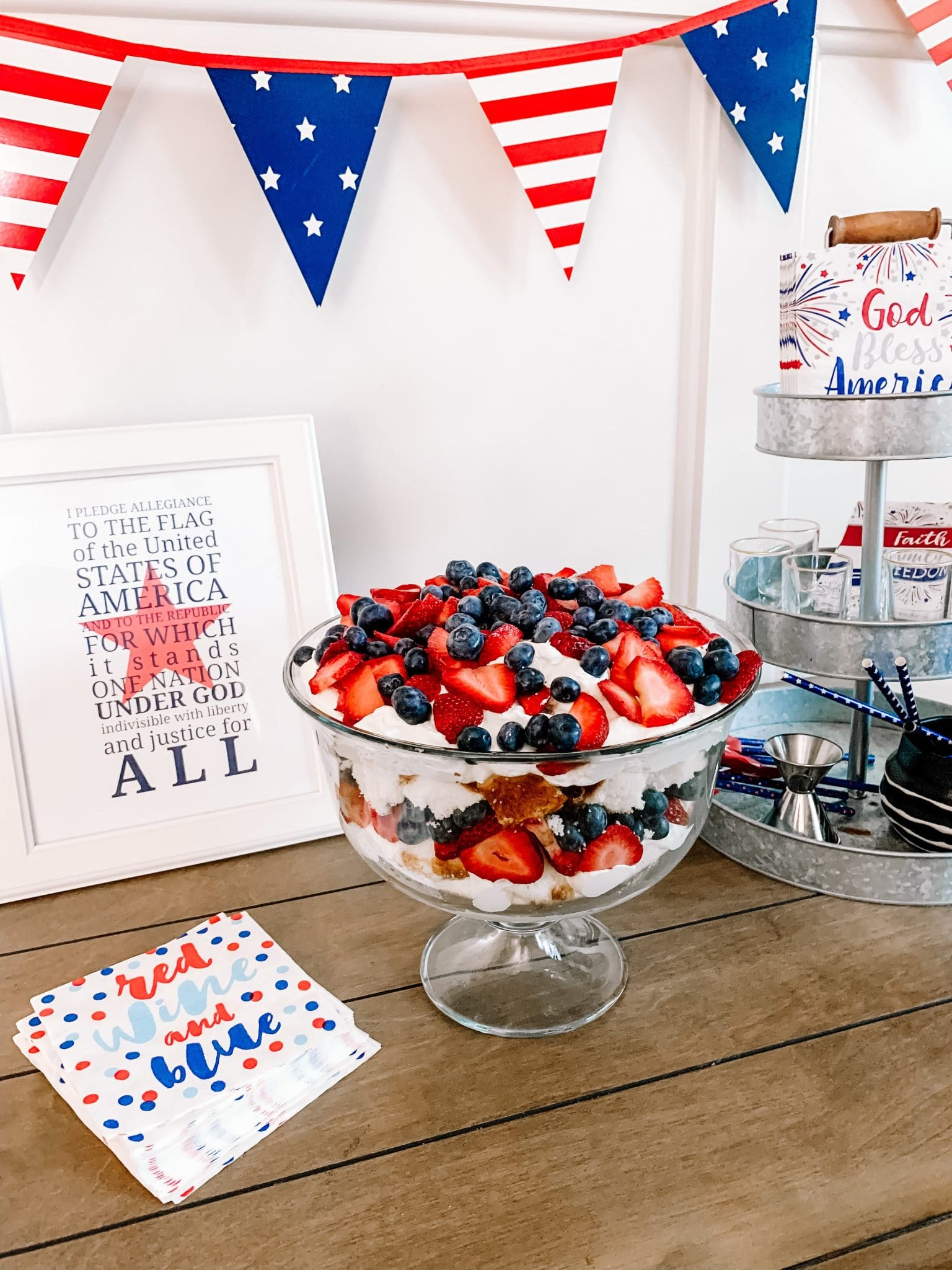 July 4th Weekend, Patriotic Trifle, Olympic watching desserts, Stilettos and Diapers