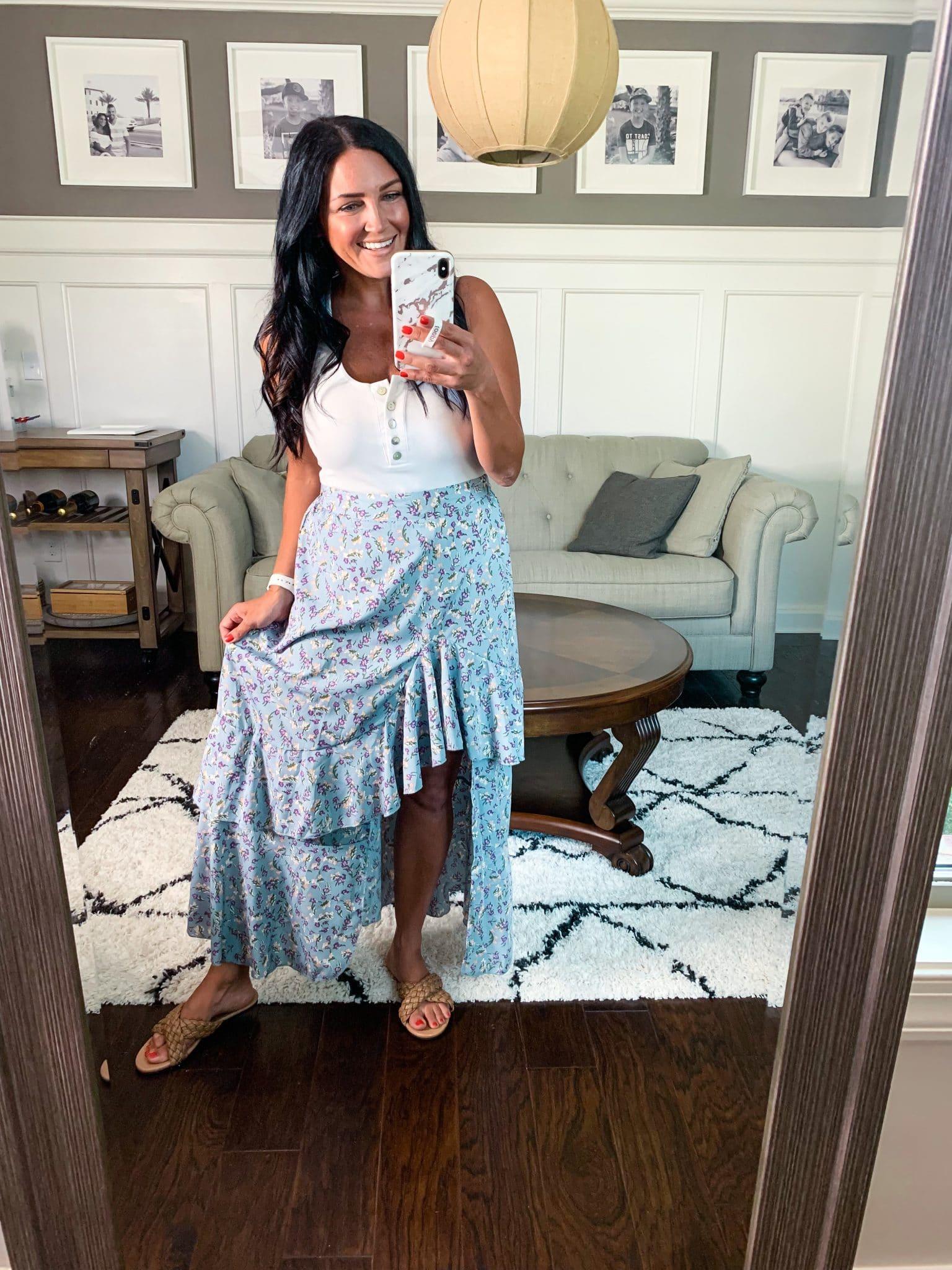 Ruffle hem maxi skirt, Amazon Summer Style, Stilettos and Diapers, Molly Wey