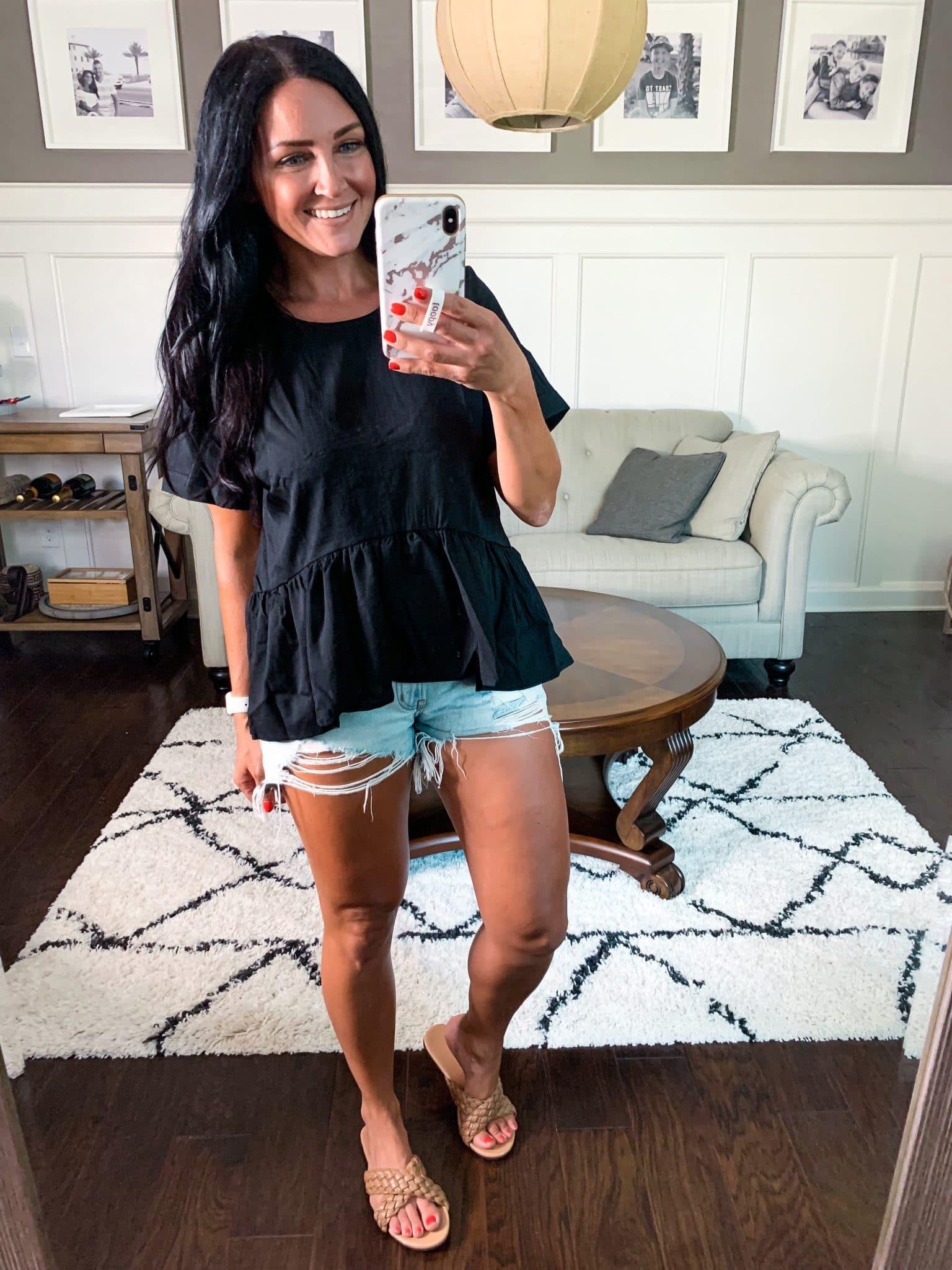 Peplum short sleeve shirt, Amazon Summer Style, Stilettos and Diapers, Molly Wey